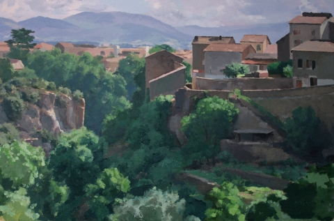 0036 Kurt Moyer2013 Civita Castellana 15x22.25 oil on paper mounted on wood