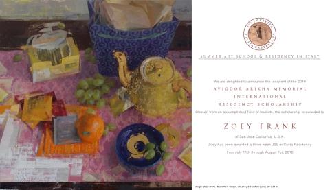 Zoey Frank - Avigdor Arikha Residency Poster copy